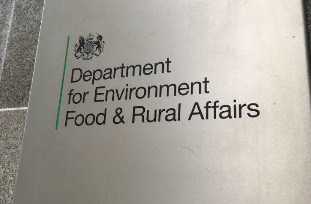 A sign that says 'Department for Enviroment, Food and Rural Affairs'.