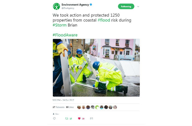 Screengrab of a tweet from the Environment Agency saying 'We took action and protected 1250 properties from coastal flood risk during Storm Brian