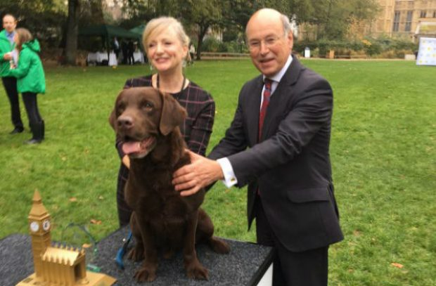 Photo of Lord Gardiner with the winning MP and her dog a the Westminster Dog of the Year show 2017