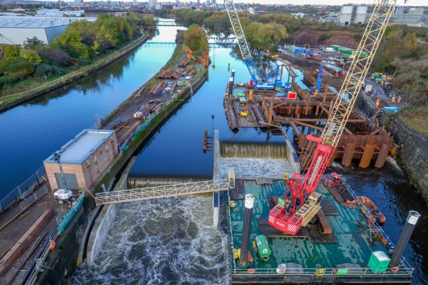 Aerial photo of the Leeds Flood Alleviation Scheme