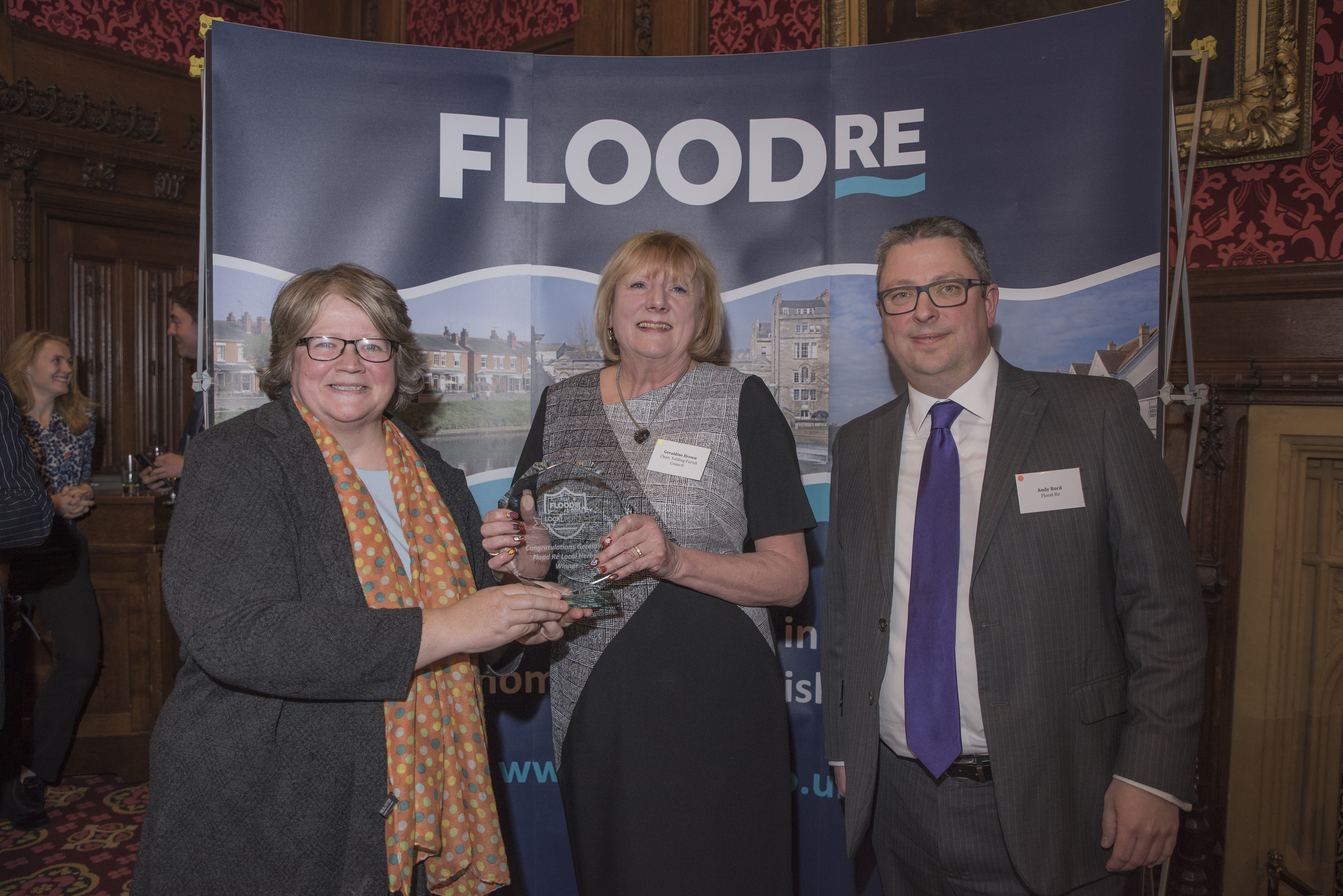 Floods Minister presents Geraldine Brown with her Flood Re Local Heroes Award
