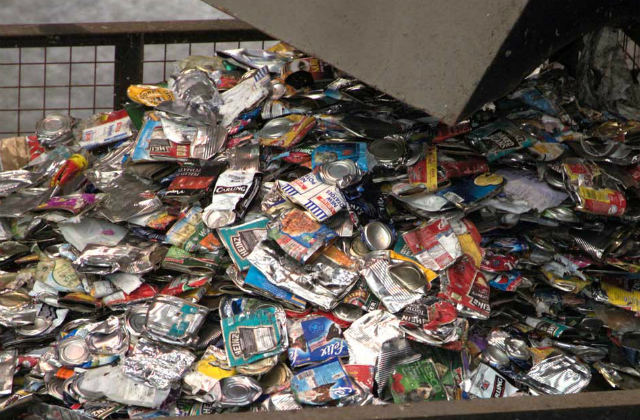 An image of crushed aluminium food and drinks cans