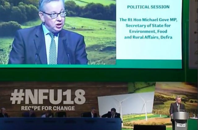 Michael Gove speaking at the NFU conference