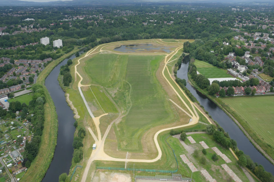 Aerial view of Salford flood defence