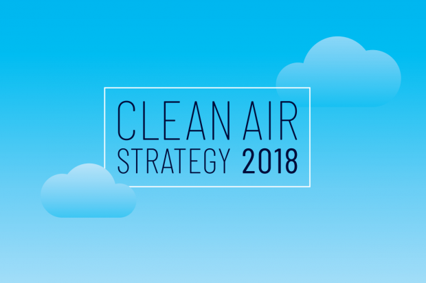 Blue infographic saying 'Clean Air Strategy 2018'