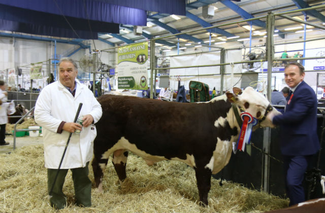A picture of Minister George Eustice with a prize winning bull