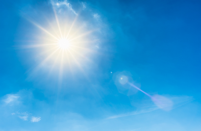 Image of sun in a blue sky