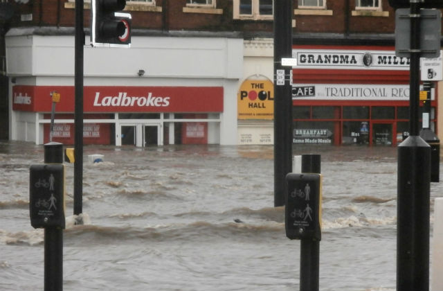 Flooded street in Rochdale on Boxing Day in 2015