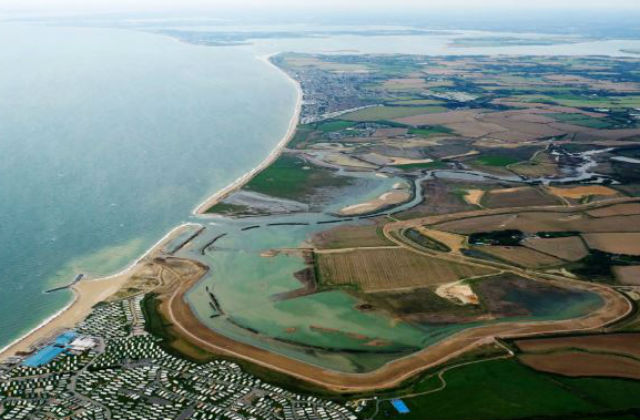 Aerial photograph of Medmerry Nature Reserve in West Sussex