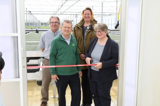 (right to left) Minister Coffey, Antoinette Sandbach MP for Eddisbury, Mike Seddon, Director of Operations, Forest Enterprise, Alan Harrison, Head of Plant and Seed Supply (Forestry Commission)