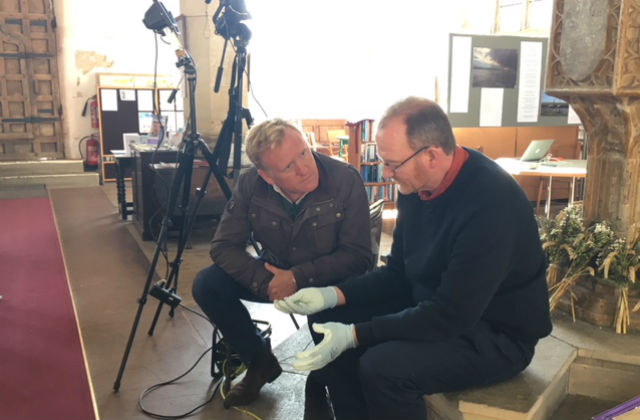An image of John Maguire from BBC and Phil Parker from Norfolk Bats and Churches sitting viewing film.