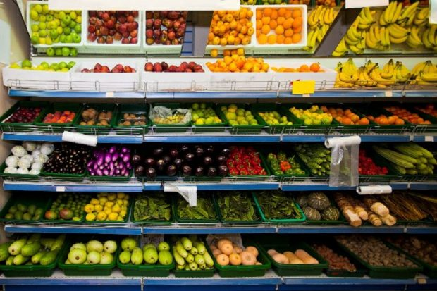 Fruits and vegetables at a supermarket.