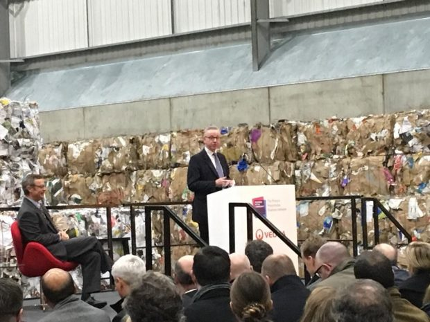 An image of Michael Gove announcing the Resources and Waste Strategy