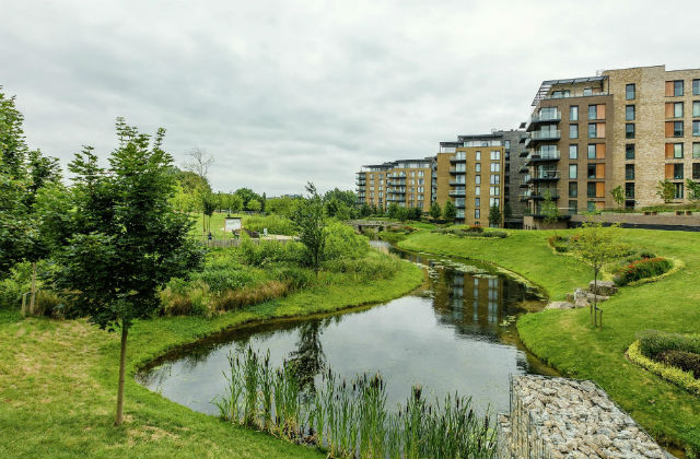 An image of a building development in Kidbrooke, with a lake and greenery surrounding it.