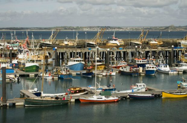 Image of a major fishing port, with boats at a harbour.