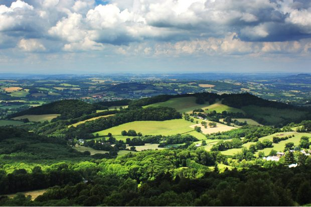 An image of a green landscape with clouds above in the blue sky.