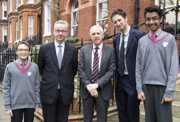 From left to right: Head Boy Max Rosenfeld, Environment Secretary Michael Gove, Mark O'Donnell Westminster Under School's Head teacher, Clear Public Space's Luke Douglas-Home, and Head Boy Rishik Vishwanathan . Credit: Lucy Jayne Blanchard