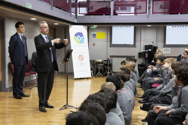 Environment Secretary Michael Gove speaking to school pupils at Westminster Under School. Credit: Lucy Jayne Blanchard