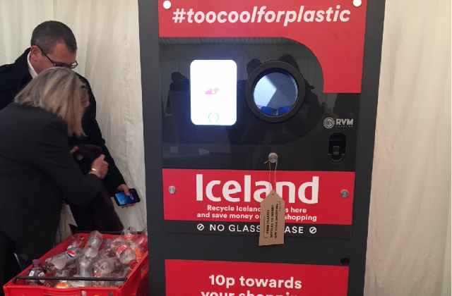 An image of Iceland's new recycling machine, with a tagline that says #toocoolforplastic