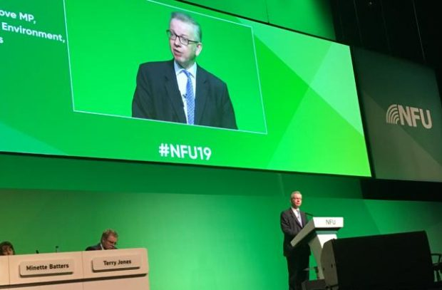 An image of Environment Secretary Michael Gove standing on a stage speaking with a projection of himself on the wall behind.