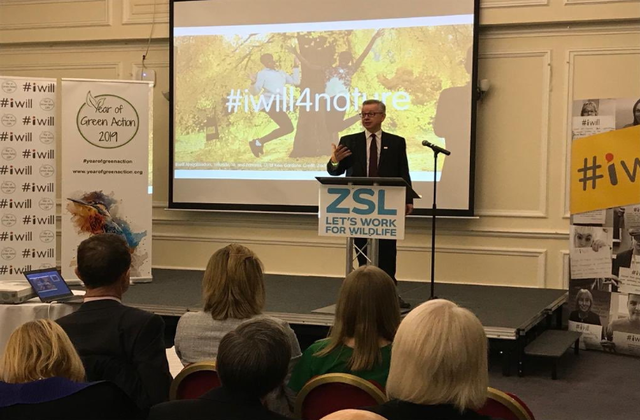 An image of Environment Secretary Michael Gove speaking at London Zoo.