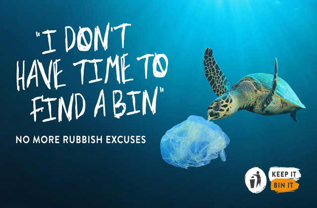 A campaign image from the 'Keep Britain Tidy' campaign showing a turtle eating a plastic bag in the ocean. The text reads 'I don't have time to find a bin, no more rubbish excuses, Keep it bin it.'
