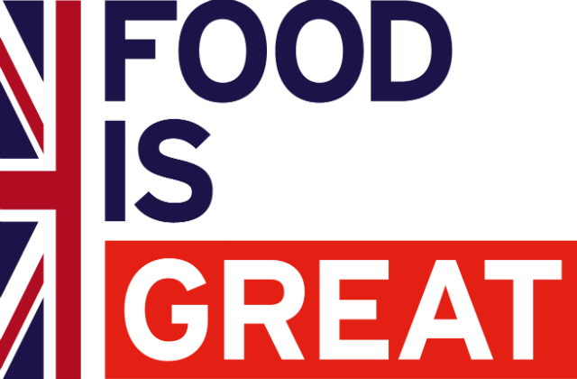 Image of half a vertical union jack flag next to text saying 'food is great'