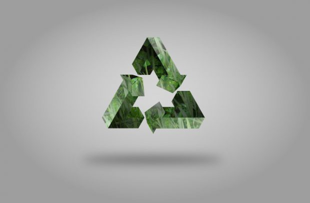 Image of a green recycling logo with three arrows in a triangle shape