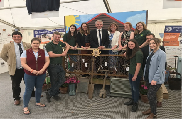 Farming Minister Robert Goodwill with the members of Somerset Young Farmers' Club