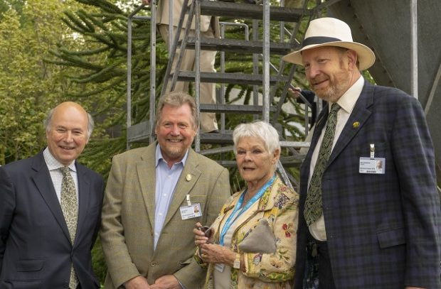 Dame Judi Dench visited the Resilience Garden accompanied by Lord Gardiner, Tony Kirkham and Sir Harry Studholme.
