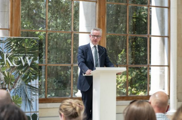 Photo of Michael Gove giving his speech at Kew Gardens