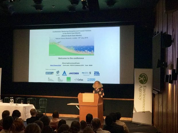 Environment Agency Chair, Emma Howard Boyd speaking at the Restoring Estuarine and Coastal Habitats Conference