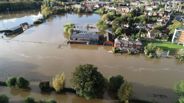 An aerial image of Hereford during a flood.
