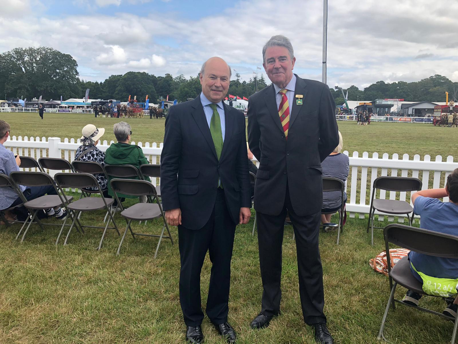 National Parks Minister Lord Gardiner with New Forest Show chair Chris Whitlock, Former Chairman of the New Forest & Hampshire Agricultural Show Society