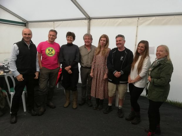 Philip Lymbery, Isabella Tree, Chris Packham, Tony Juniper, Carrie Symonds, Dominic Dyer, Hannah Stitfall and Deborah Meaden in a tent at the Birdfair event in Leicestershire.
