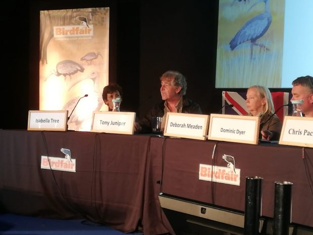 Tony Juniper sits at a table on a panel speaking at the Birdfair event alongside Isabella Tree, Deborah Meaden and Dominic Dyer