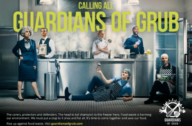 Guardians of Grub campaign poster shows chefs in a kitchen.