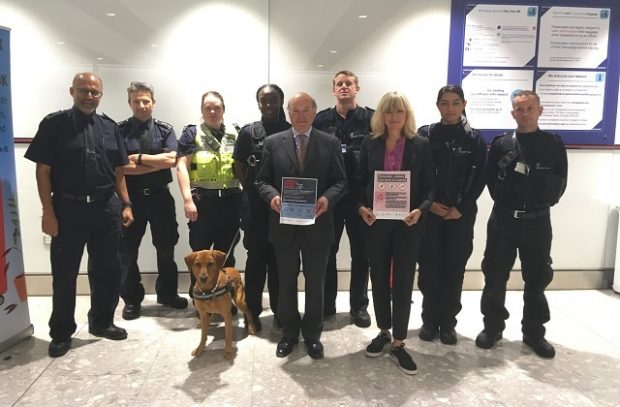 Group picture which includes Lord Gardiner, UK Chief Vet, Marley the sniffer dog and Border Force.