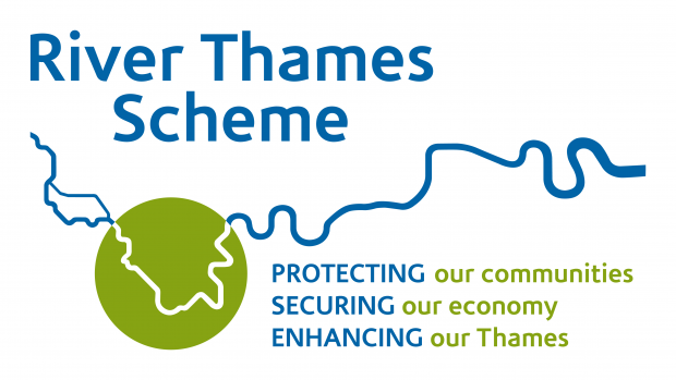 Digital map with River Thames Scheme written in bold print with protecting our communities securing our economy and enhancing our Thames written underneath an impression of a river.