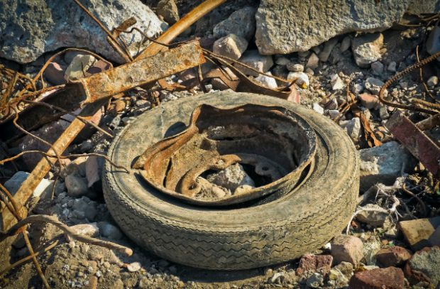 Picture of old tire waste