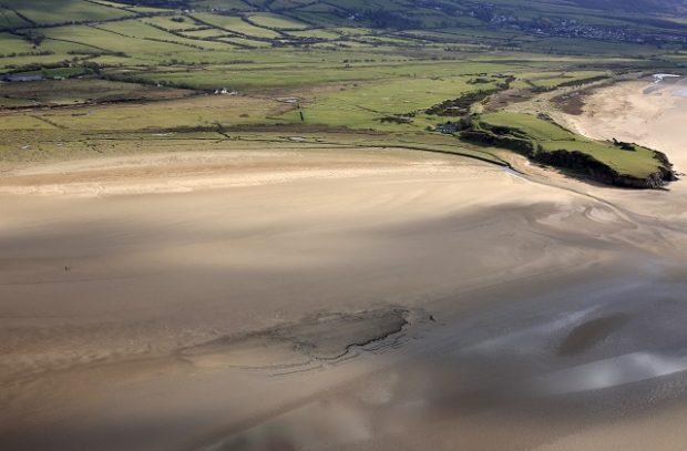 An aerial image of Dunnerholme beach Askam-in-Furness