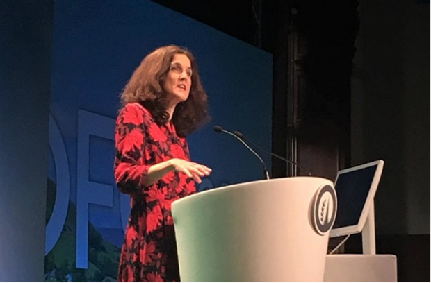 Environment Secretary, Theresa Villiers, standing behind a lectern delivering her speech at Oxford Farming Conference 2020