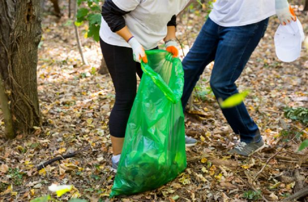 Two people seen picking up litter in a wooded area and placing it into bin bags