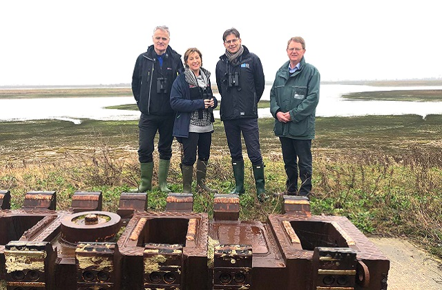 An image of Environment Minister Rebecca Pow, as well as of the RSPB's Martin Harper, Natural England's Aidan Lonergan and Paul Miller of the Environment Agency on a visit to Wallasea Island.