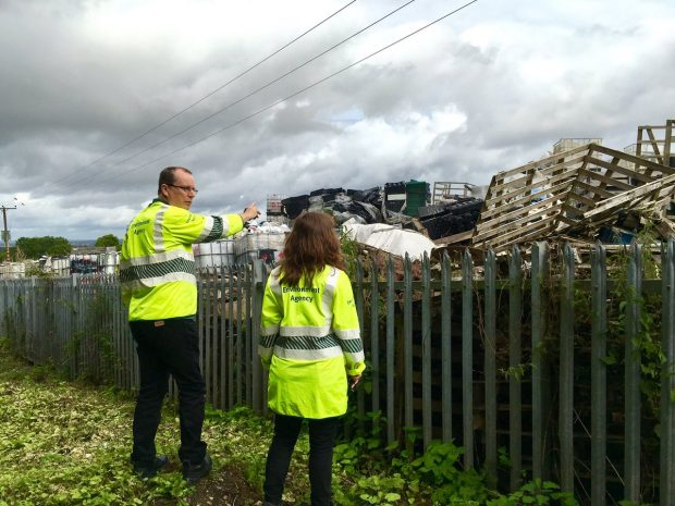 Environment Agency inspecting a waste site