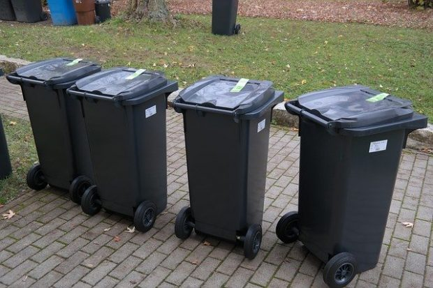 Black wheelie bins on the pavement.