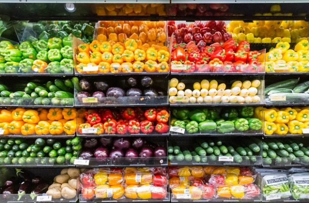 A photo of supermarket shelves with food on them