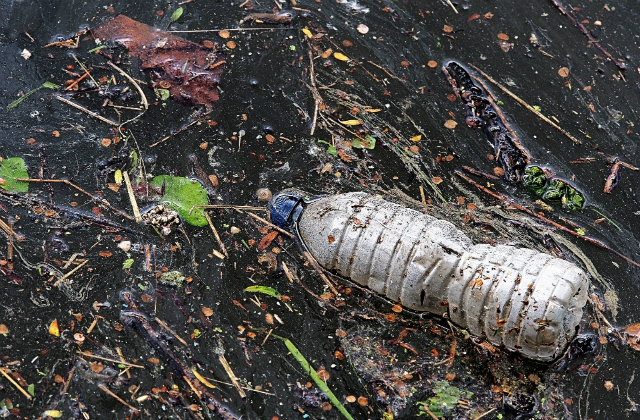 An image of an empty plastic bottle floating in water