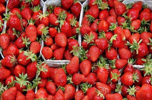 Punnets of British strawberries