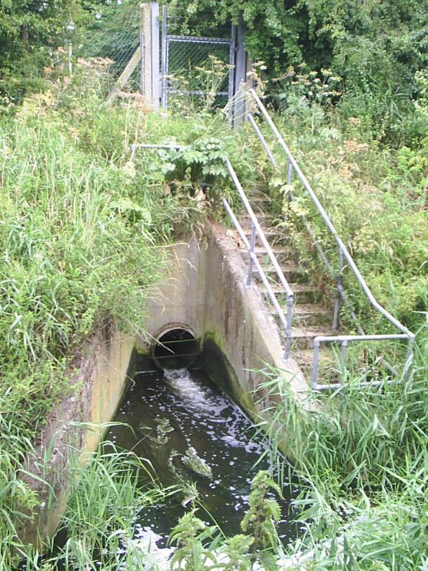 Photograph showing a combined sewage overflow in action